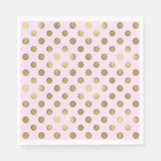 Pink Gold Polka Dot Birthday Party Napkin