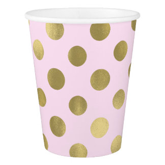 Pink Gold Polka Dot Birthday Party Paper Cup