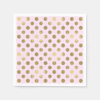 Pink Gold Polka Dot Birthday Party Paper Napkin