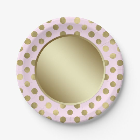 pink gold polka dot birthday party paper plate. Black Bedroom Furniture Sets. Home Design Ideas