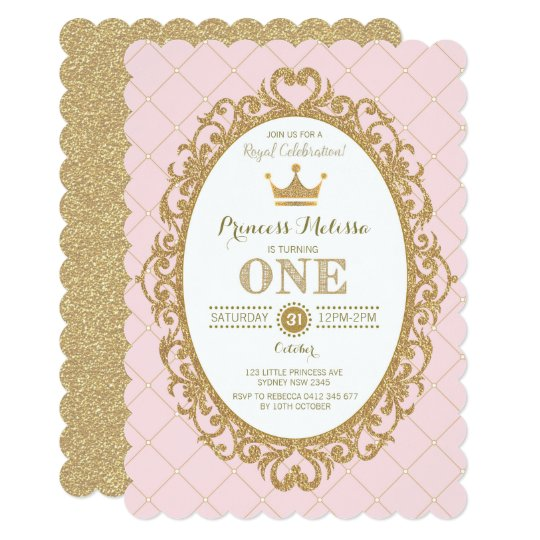 Pink Gold Princess 1st Birthday Party Crown Invite