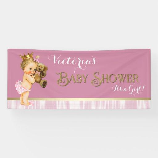 pink gold princess baby shower banner zazzle