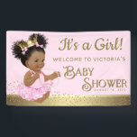 "Pink Gold Princess Baby Shower Banners<br><div class=""desc"">Pink and gold African American princess baby shower banner with adorable ethnic princess wearing a pink tutu, pearls and pretty gold crown on a beautiful pink and gold background. This pink and gold baby shower banner is easily customized with your text in the font style and color and wording of...</div>"