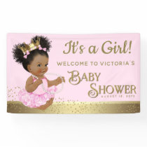 Pink Gold Princess Baby Shower Banners