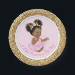 "Pink Gold Princess Baby Shower Paper Plates<br><div class=""desc"">Princess baby shower paper plates with adorable African American princess baby girl wearing a tutu and string of pearls on a pink and gold background. These cute ballerina princess baby shower paper plates can be customized with text in the font style and color of your choice. You can also remove...</div>"