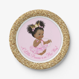 Pink Gold Princess Baby Shower Paper Plates