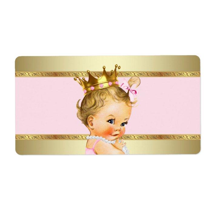 Pink Gold Princess Baby Shower Water Bottle Label Zazzle