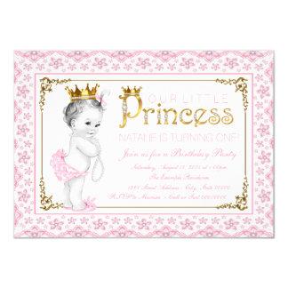Pink Gold Princess Birthday Party Card