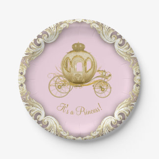 Pink Gold Princess Carriage Girl Baby Shower Paper Plate