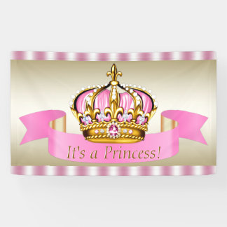 Pink Gold Princess Crown Baby Shower Banner