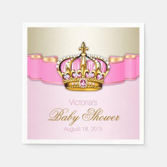 Pink Gold Princess Crown Baby Shower Napkin Zazzle