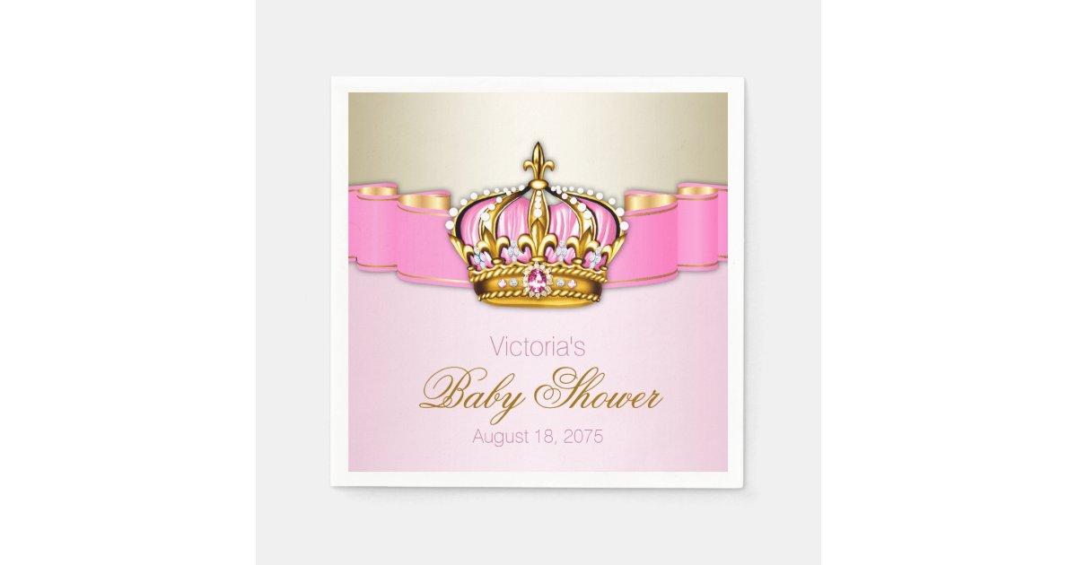 Pink Gold Princess Crown Baby Shower Napkin | Zazzle.com