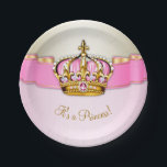 "Pink Gold Princess Crown Baby Shower Paper Plate<br><div class=""desc"">Pink and gold baby shower paper plates with a beautiful pink and gold royal princess crown on an elegant  pink and gold background. These cute pink and gold baby shower paper plates can be customized with text in the font style and color of your choice.</div>"