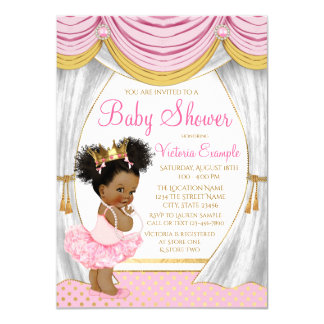 Pink Gold Princess Curtains Baby Shower Invitation