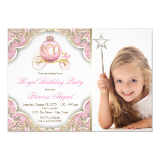 Pink Gold Princess Photo Birthday Party Card