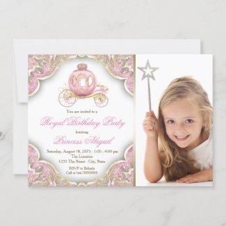 Pink Gold Princess Photo Birthday Party Invitation