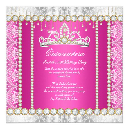 Pink Gold Princess Quinceanera Diamond Lace Card
