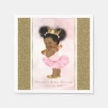 Pink Gold Princess Vintage Black Baby Girl Shower Paper Napkin