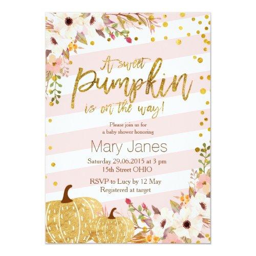 Pink Gold Pumpkin Baby Shower Invitation