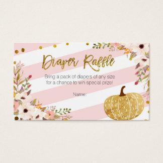 Pink Gold Pumpkin - Diaper Raffle Card
