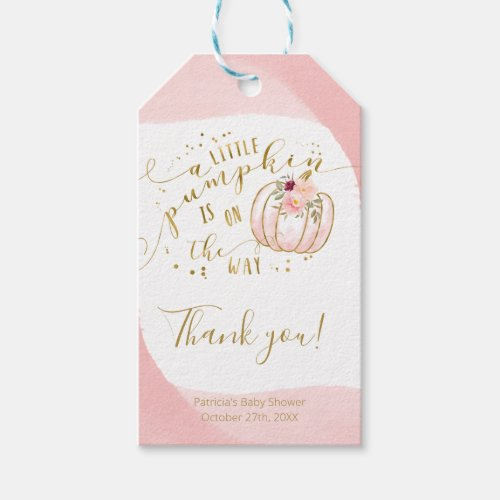Pink Gold Pumpkin Fall Baby Shower Thank You Gift Tags