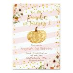 Pink Gold Pumpkin First Birthday Invitation at Zazzle