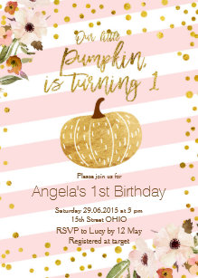 Pumpkin birthday invitations announcements zazzle pink gold pumpkin first birthday invitation filmwisefo Image collections