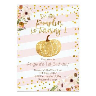 Pink Gold Pumpkin First Birthday Invitation