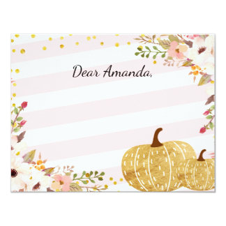 Pink Gold Pumpkin Time Capsule Note Card Guestbook