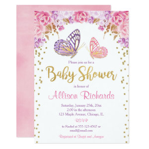 Purple butterfly themed baby shower invitations, Pink gold
