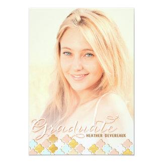 Pink & Gold Quatrefoil Senior Photo Graduation Invitation