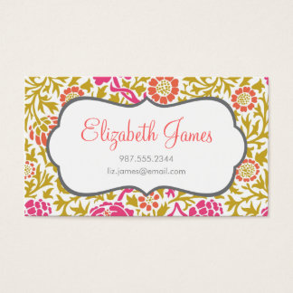 Pink & Gold Retro Floral Damask Business Card