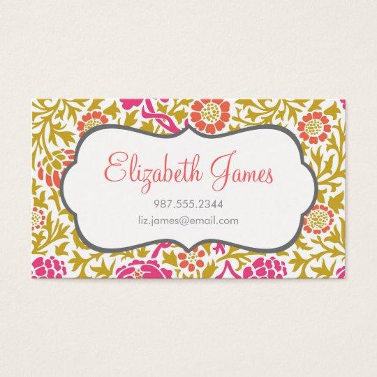 Pink & Gold Retro Floral Damask Business Card