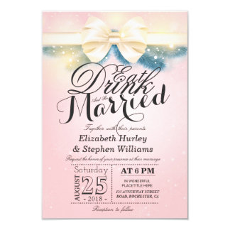Pink Gold Ribbon EAT Drink & Be Married Invitation