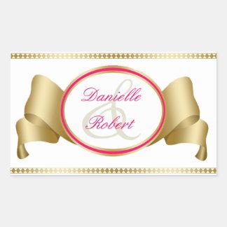 Pink & Gold Ribbon & Swirls Wedding Stickers