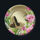 "Pink Gold Rose High Heel Shoe Pearl Birthday Party Paper Plate<br><div class=""desc"">Pink and gold paper plates with elegant pink roses and gold high heel shoes on a beautiful gold pearl background. You can add your text to personalize these beautiful pink and gold paper plates.</div>"