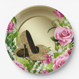 Pink Gold Rose High Heel Shoe Pearl Birthday Party Paper Plate