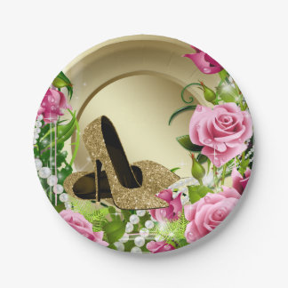 Pink Gold Rose High Heel Shoe Pearl Birthday Party 7 Inch Paper Plate