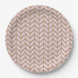 Pink Gold Royal Damask Chevron Glitter Photo Print Paper Plate