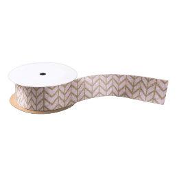 Pink Gold Royal Damask Chevron Glitter Photo Print Satin Ribbon