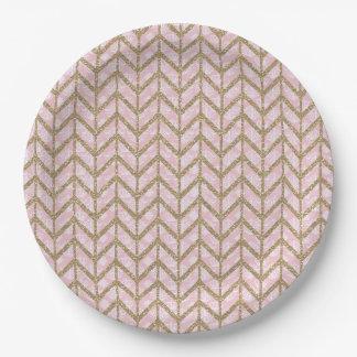 Pink Gold Royal Damask Chevron Glitter Photo Print 9 Inch Paper Plate