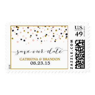 Pink & Gold Save Our Date Confetti Dots Stamp