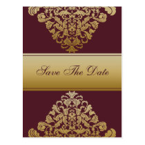 pink gold save the date announcement postcard