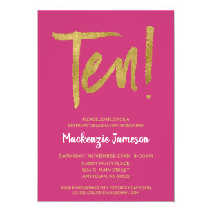 Pink Gold Script 10th Birthday Party Invitation