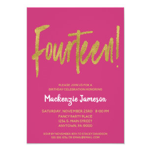 Pink Gold Script 14th Birthday Party Invitation