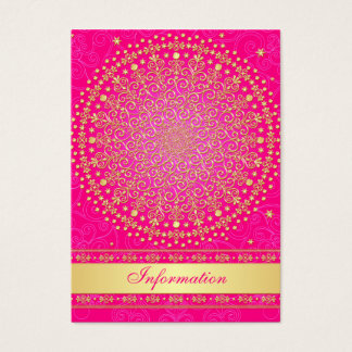 Pink, Gold Scrolls, Stars Wedding Enclosure Card