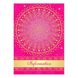 Pink, Gold Scrolls, Stars Wedding Enclosure Card Large Business Card