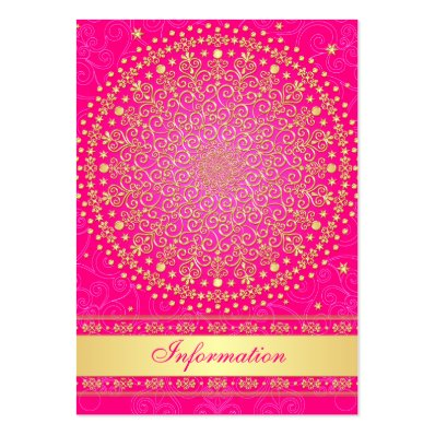 Pink, Gold Scrolls, Stars Wedding Enclosure Card Large Business Card