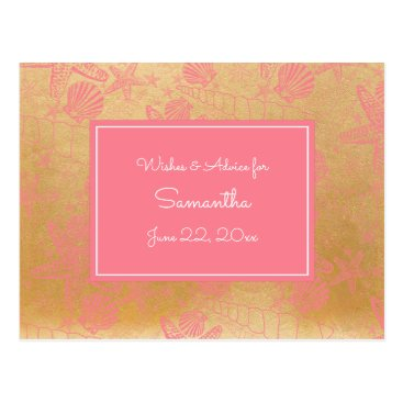 Beach Themed Pink Gold Sea Shells Baby Advice, prayers 3988 Postcard