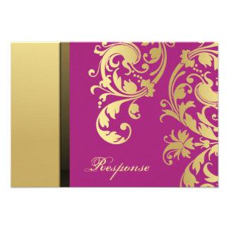 Pink Gold Shimmer Floral Wedding Response RSVP Custom Invites